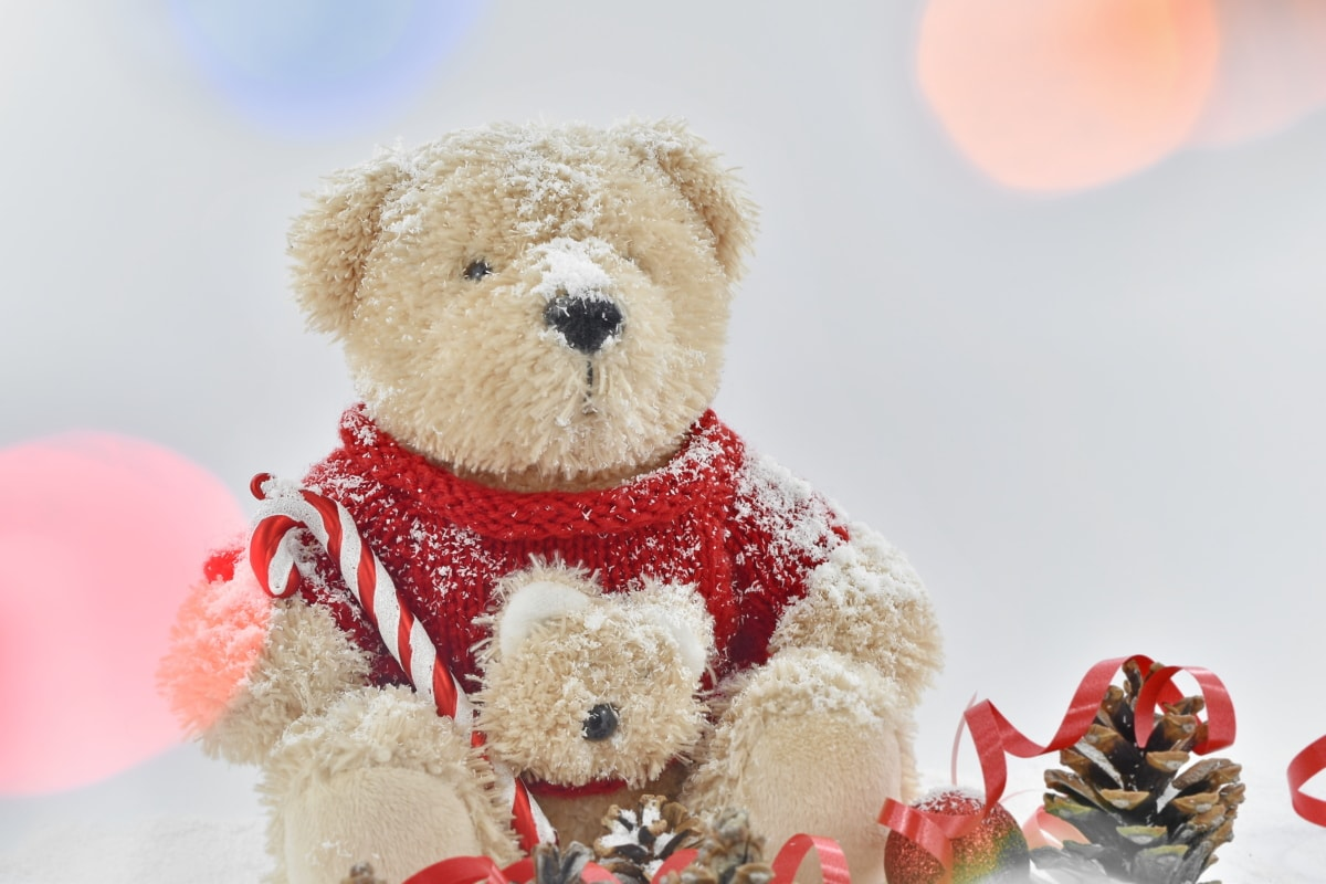 christian, christmas, holiday, teddy bear toy, animal, bear, brown, celebration, childhood, cold
