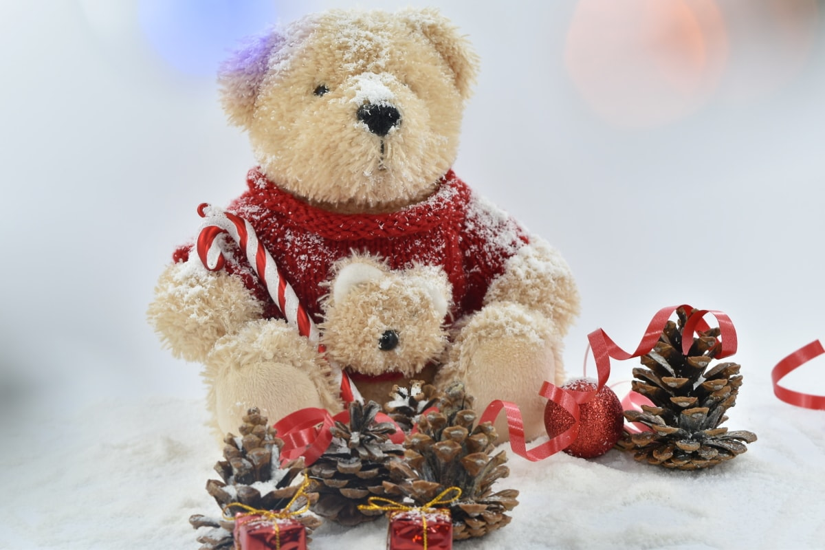 backlight, colorful, cone, conifers, gifts, plush, teddy bear toy, traditional, cute, snow