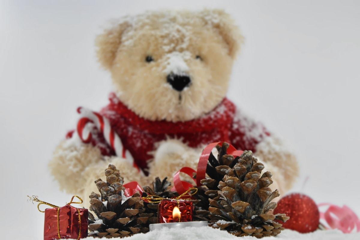 candlelight, candles, christianity, christmas, decoration, doll, plush, teddy bear toy, toys, animal