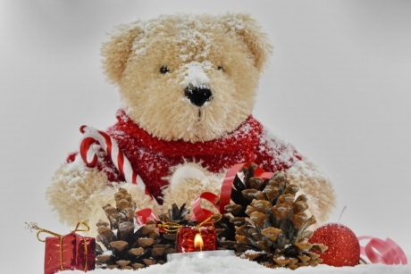 candle, candlelight, christmas, decoration, gifts, love, romance, teddy bear toy, winter, snow