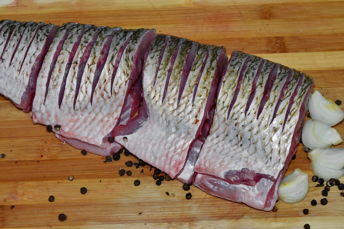 fillet, fish, freshwater fish, preparation, raw meat, food, meat, wood, board, wooden