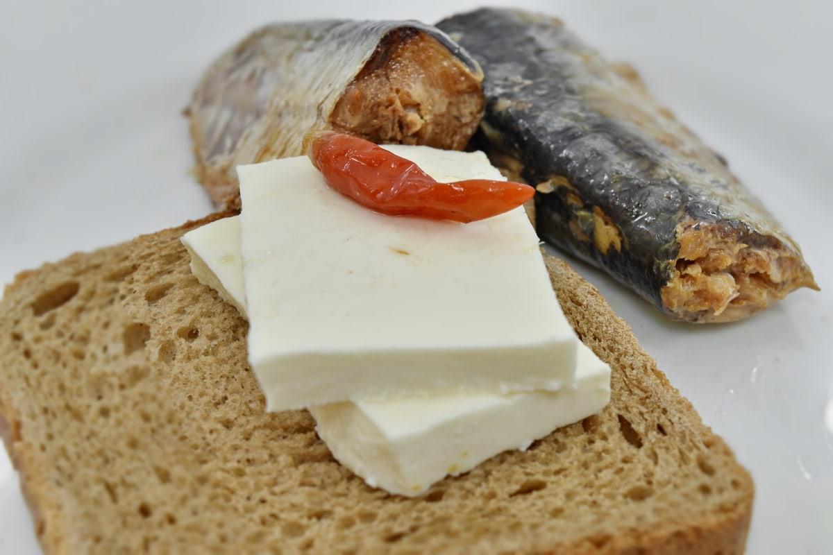 kruh, ugljikohidrati, sir, feferoni, protein, srdele, tost, hrana, užina, ukusno