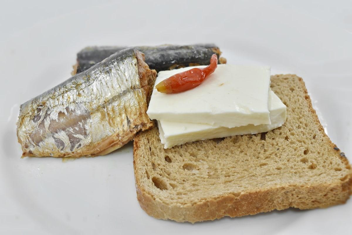 bread, breakfast, cheese, meat, organic, pepperoni, sardines, meal, food, snack