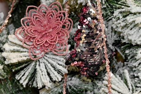 christianity, christmas, christmas tree, decoration, ornament, pinkish, shining, snowflakes, tree, branch