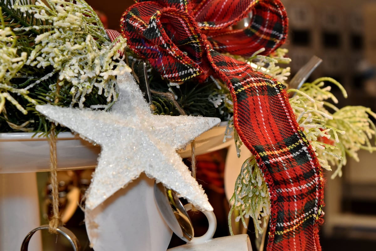 christmas, crystal, decoration, gifts, scarf, shining, star, still life, tradition, traditional
