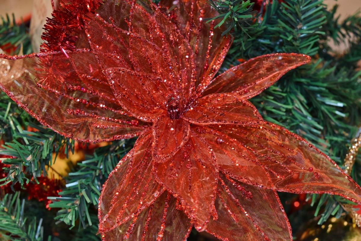 christmas tree, decoration, flower, petals, red, christmas, plant, maple, tree, herb