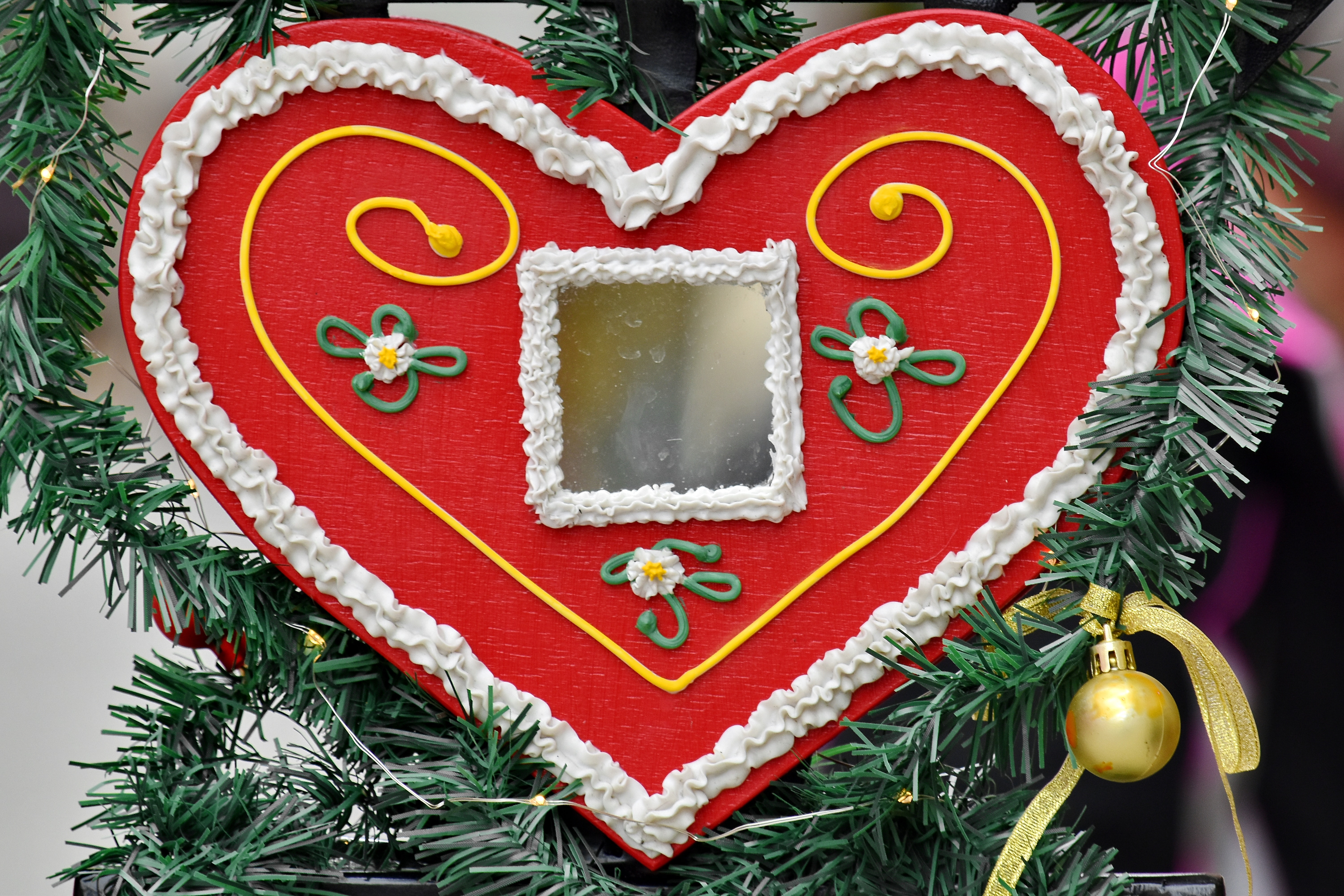 Free Picture Candy Christmas Tree Decoration Gingerbread Handmade Heart Love Mirror Romance Celebration