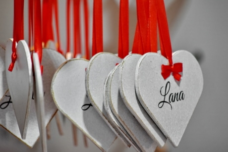 affection, gifts, handmade, hanging, heart, hearts, memorabilia, remembrance, ribbon, shape