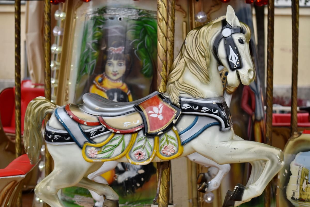 circus, ride, carnival, mechanism, cavalry, carousel, horse, entertainment, fun, art