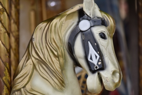 horse, old, plastic, toy, toyshop, carousel, sculpture, statue, art, indoors