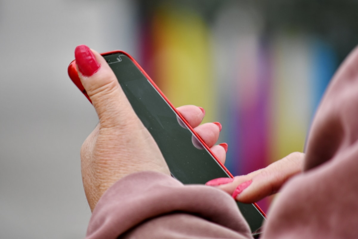 cosmetics, handful, hands, mobile phone, red, woman, hand, people, touch, color