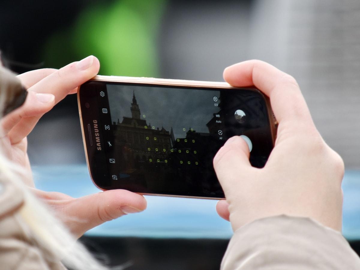 fotocamera, messa a fuoco, mani, cellulare, fotografo, tocco, mano, portatile, tecnologia, schermo
