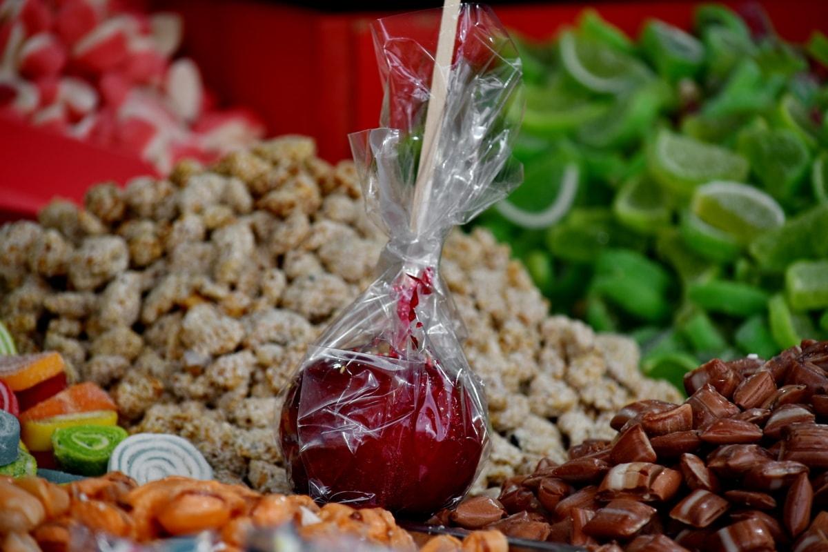 apple, candy, caramel, confectionery, lollipop, sugar, food, dry, health, ingredients
