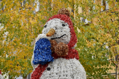 colorful, decoration, scarf, snowman, street, urban area, bright, color, fun, garden