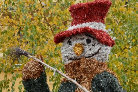 colorful, decoration, face, funny, head, shining, snowman, color, garden, leaf