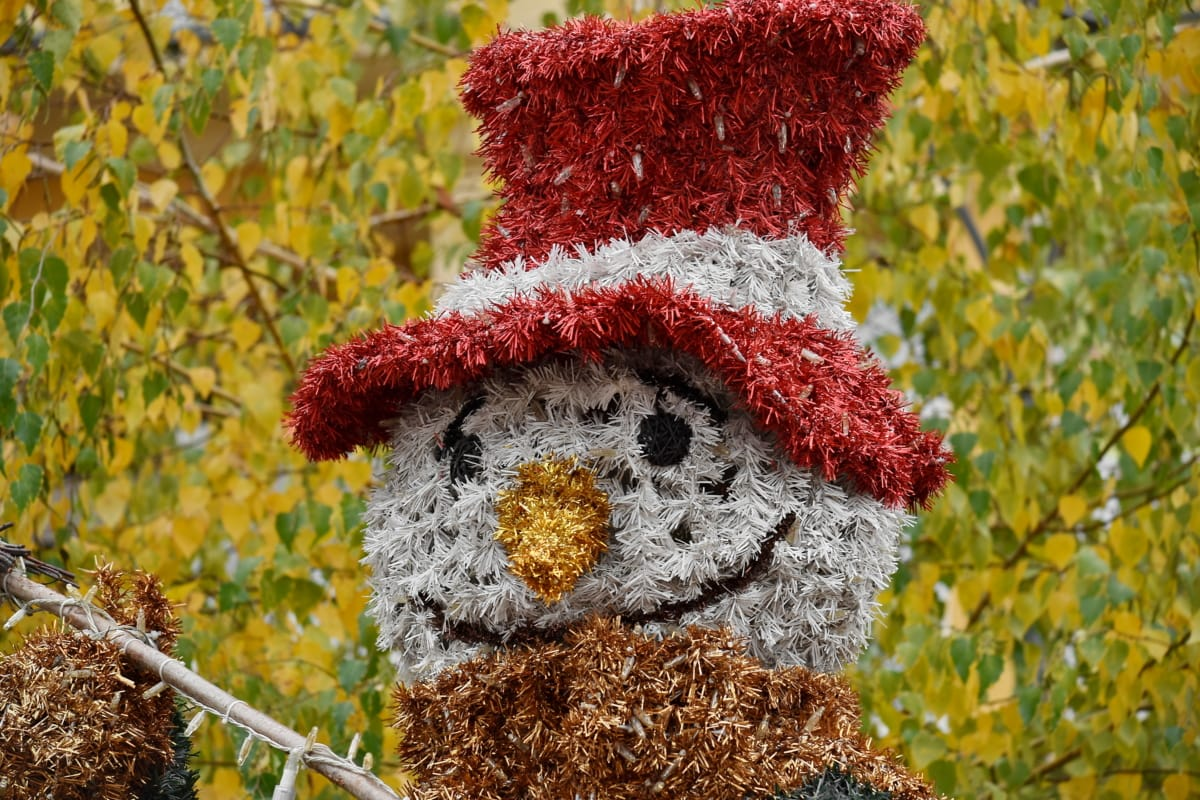 colorful, funny, head, shining, smile, snowman, brown, christmas, color, cute