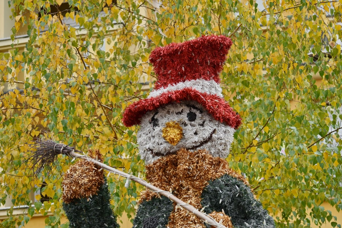 autumn season, decoration, funny, snowman, street, bright, christmas, color, colorful, ecology