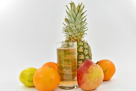 pomme, cocktail de fruits, jus de fruits, citron, oranges, jus de, vitamine, ananas, alimentaire, fruits