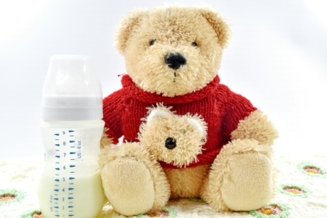 baby, blanket, bottle, knitwear, milk, teddy bear toy, wool, gift, toy, cute