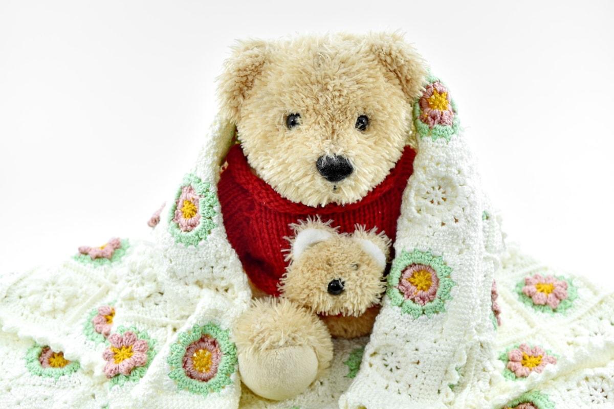 adorable, blanket, handmade, knitting, knitwear, teddy bear toy, gift, toy, wool, child