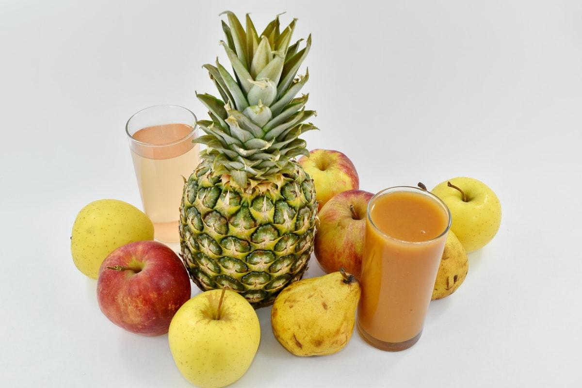 fruit, fruit cocktail, organic, tropical, still life, apple, food, produce, fresh, pineapple