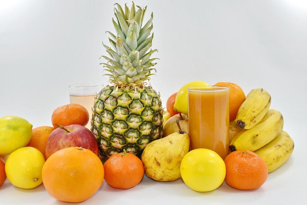 fruit cocktail, still life, orange, pineapple, fresh, tropical, produce, banana, food, fruit