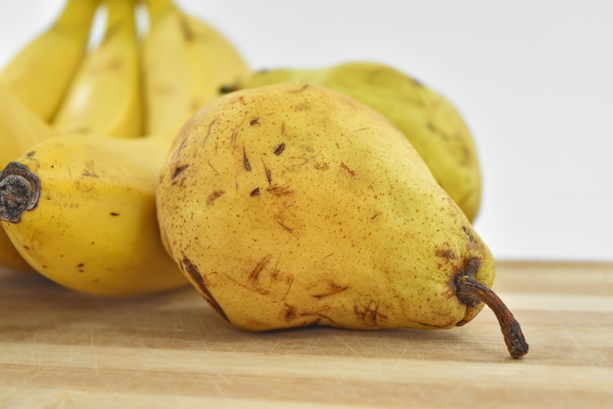 banana, organic, pear, tropical, yellowish, yellowish brown, fruit, food, health, nutrition