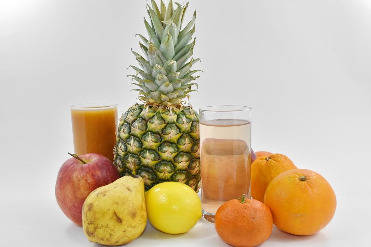 apple, dietary, fruit cocktail, oranges, pear, food, orange, fresh, pineapple, tropical
