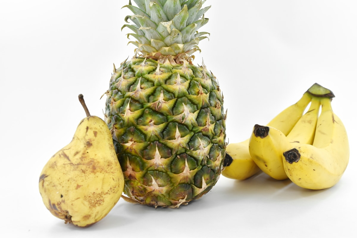 banana, pear, pineapple, vegetarian, food, fruit, tropical, produce, health, healthy