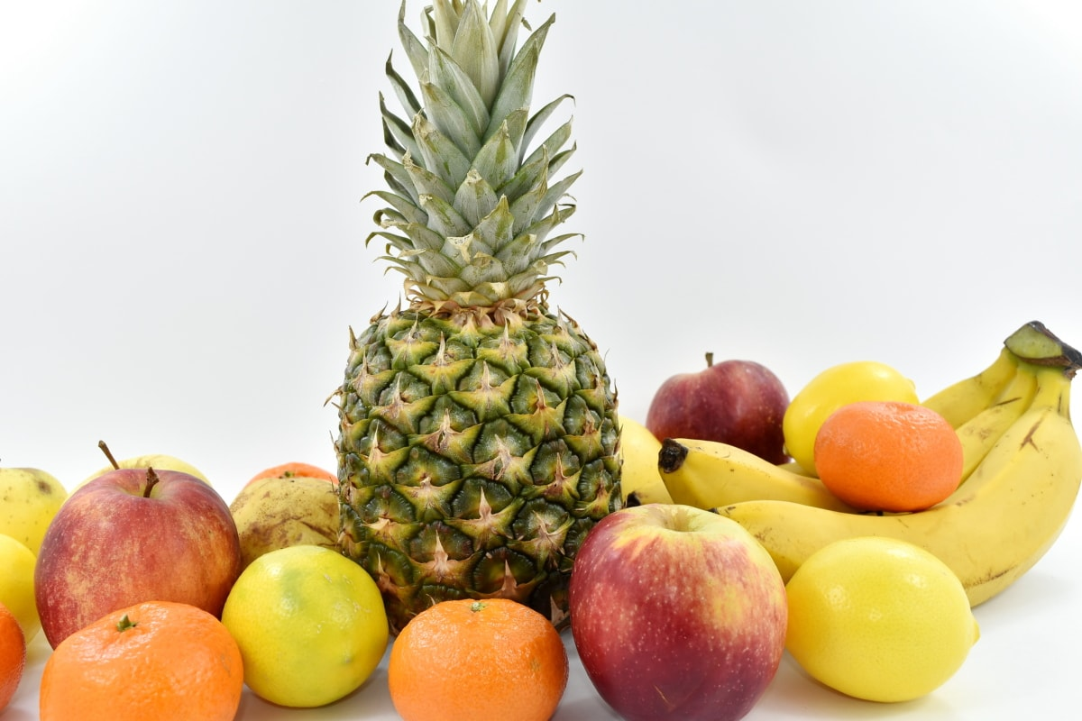 apple, fresh, fruit, tropical, pineapple, produce, orange, food, banana, health