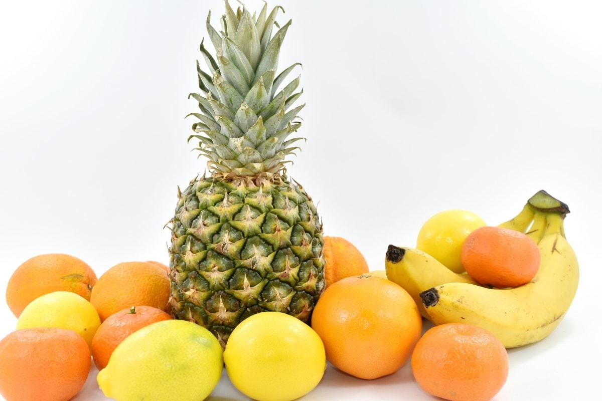 banana, citrus, oranges, pineapple, healthy, tropical, orange, food, fruit, produce
