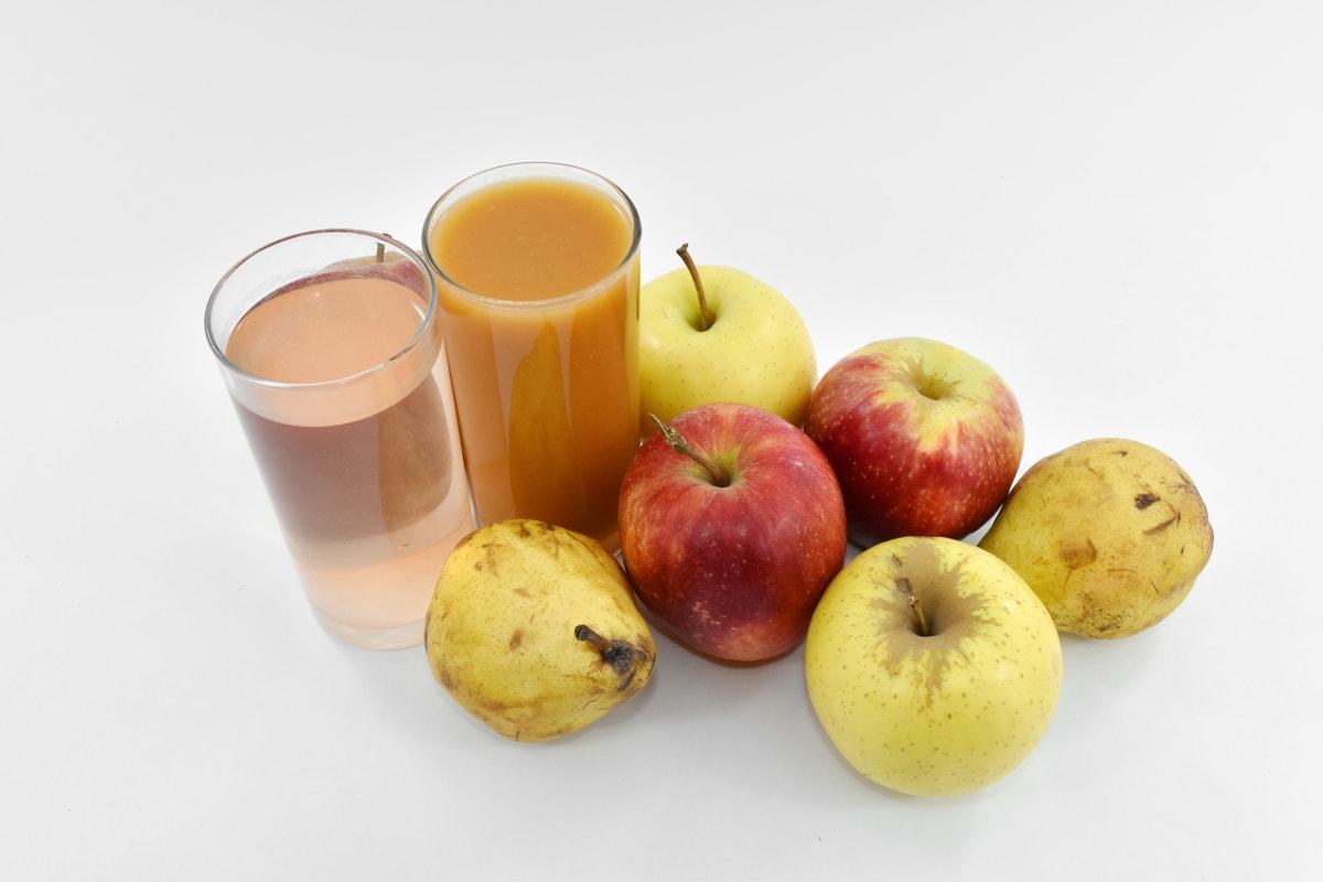 apples, cocktails, glasses, organic, pears, vitamins, still life, diet, food, fresh