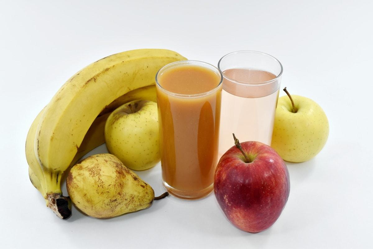 apples, banana, drinking, drinking water, fruit cocktail, fruit juice, pear, fruit, apple, diet