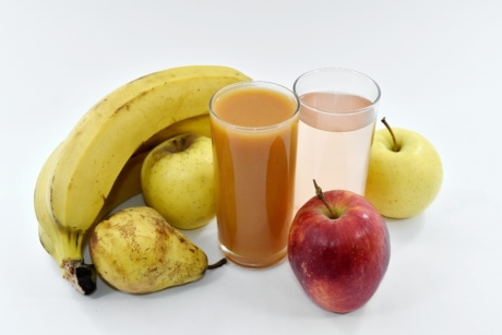 apples, banana, drinking, drinking water, fruit cocktail, fruit juice, pear, fruit, apple, diet
