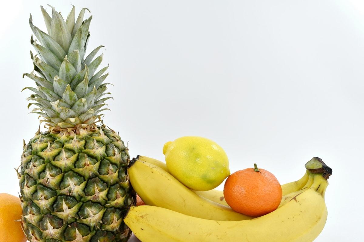 banana, lemon, tangerine, food, pineapple, healthy, fresh, tropical, orange, fruit