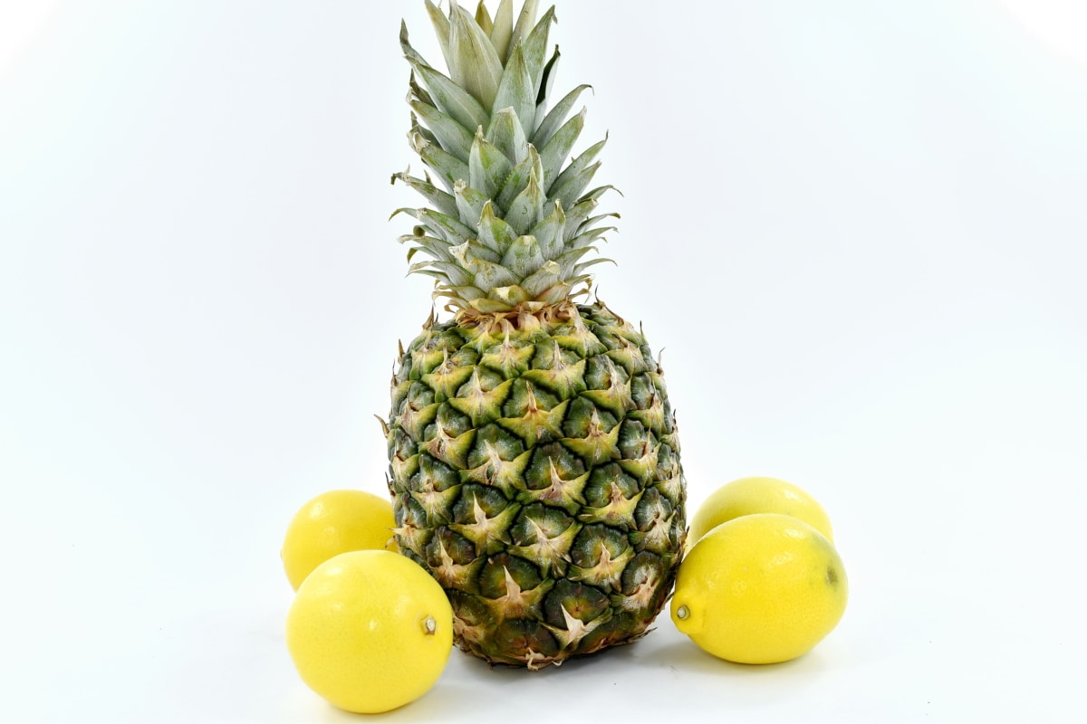 lemon, pineapple, yellow, produce, tropical, fruit, food, health, nature, juice