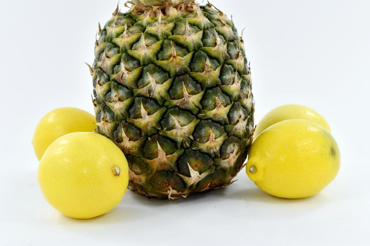 citrus, greenish yellow, lemon, pineapple, fruit, food, tropical, produce, exotic, healthy