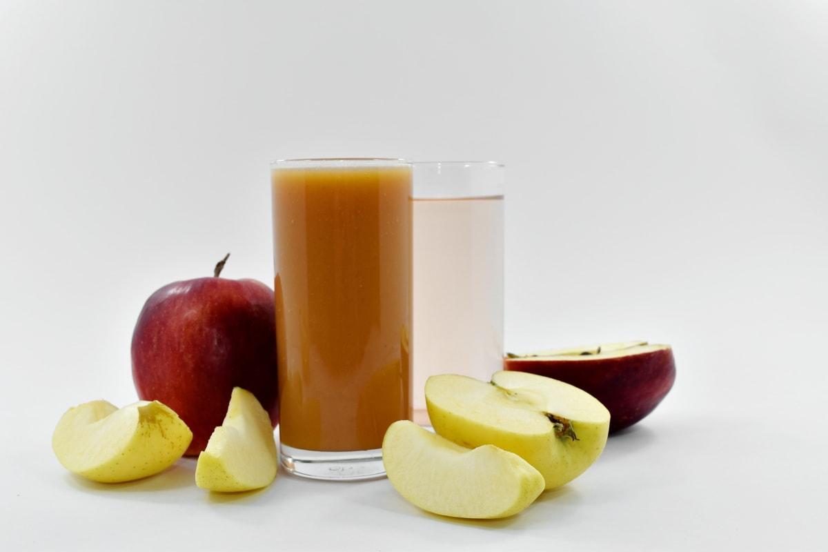 apples, fresh water, fruit cocktail, fruit juice, food, apple, fruit, juice, health, glass