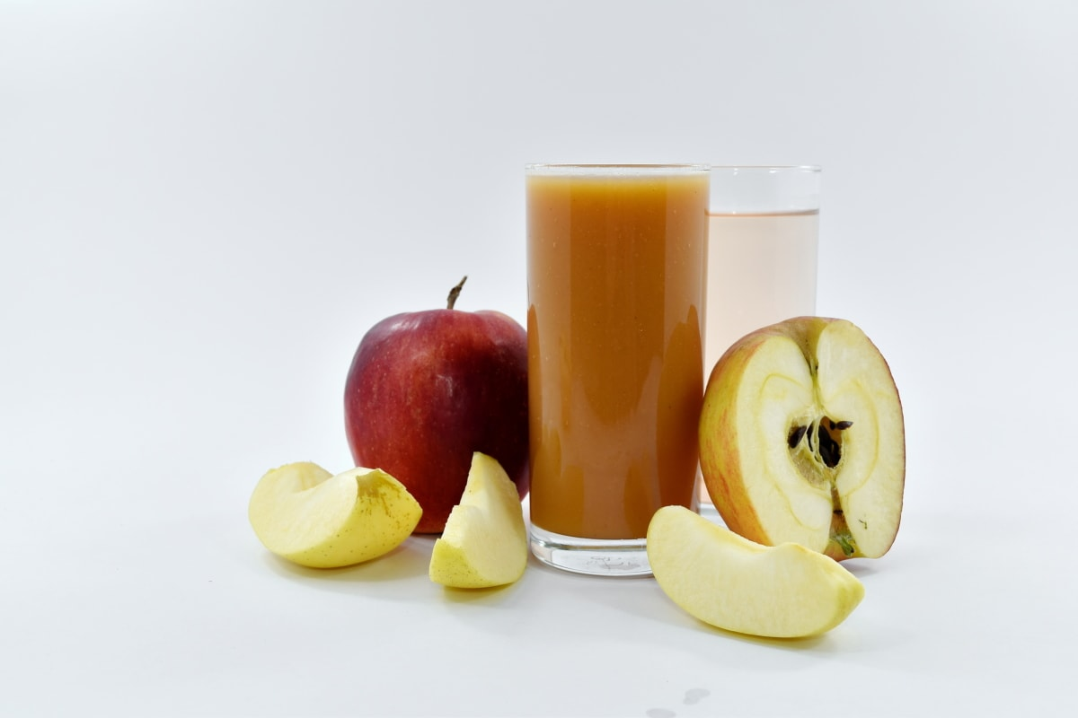 apples, fruit juice, juice, slices, syrup, food, apple, fruit, still life, health
