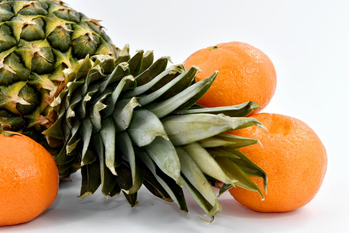 green leaves, mandarin, oranges, pineapple, food, fruit, vitamin, vegetable, leaf, health
