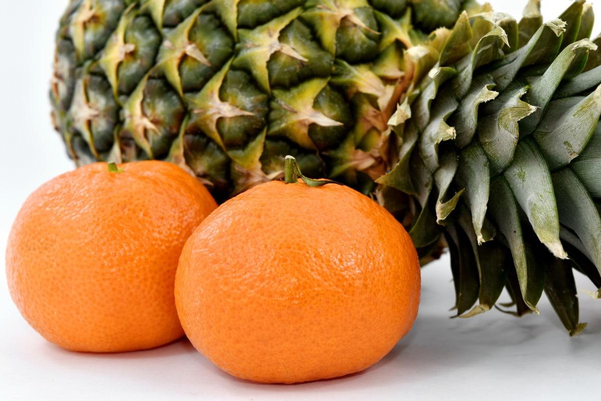 pineapple, side view, tangerine, citrus, vitamin, food, healthy, fruit, market, nature