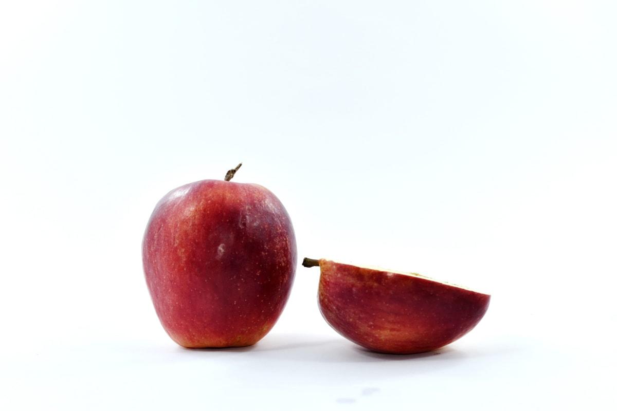 apple, food, half, red, slice, vegan, sweet, vegetarian, healthy, fruit