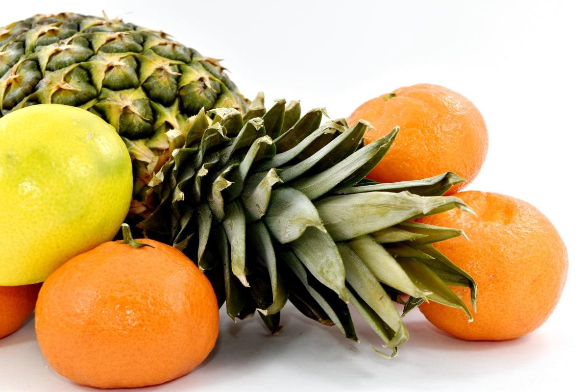 fruit, green leaves, organic, pineapple, tropical, citrus, mandarin, orange, food, produce