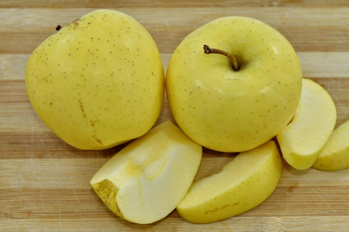 organic, slices, yellow, apple, fresh, fruit, apples, delicious, diet, health