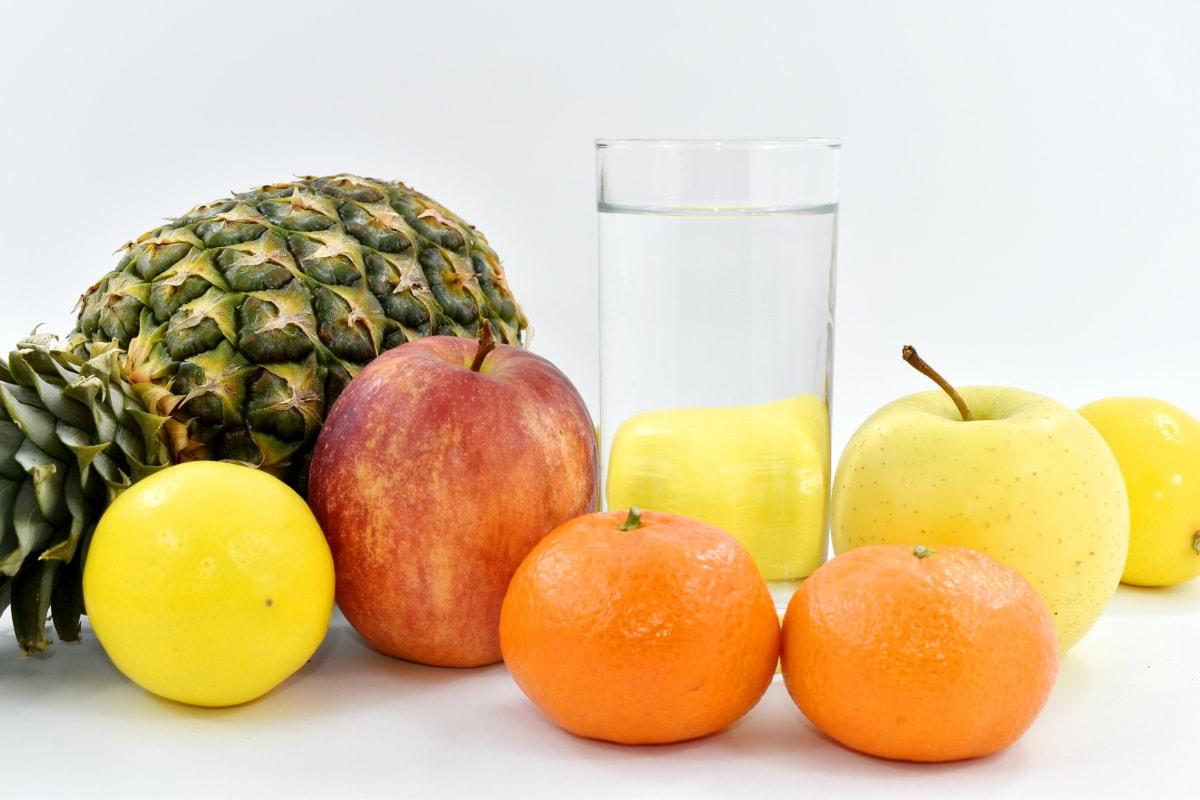 apple, drinking water, freshwater fish, fruit, lemon, mandarin, pineapple, vitamin, citrus, tangerine