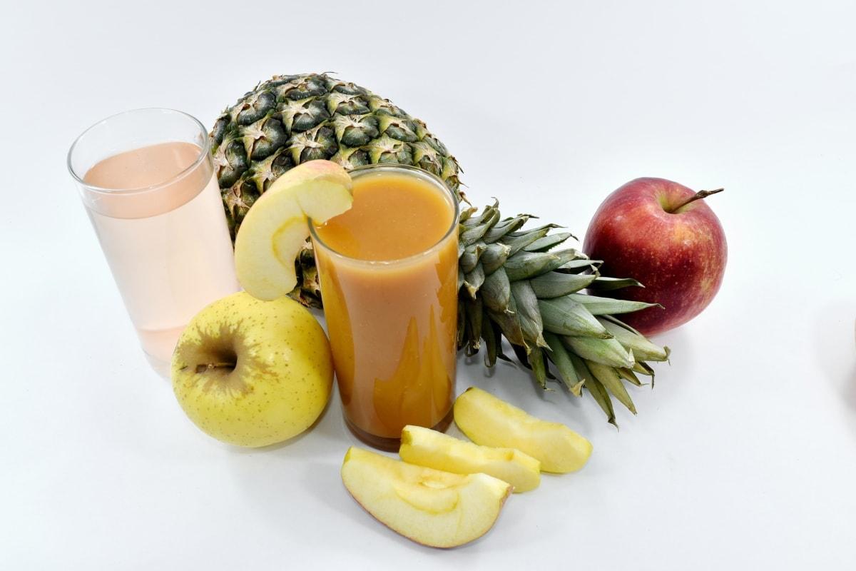 apples, cocktails, pineapple, slices, syrup, apple, food, drink, diet, breakfast
