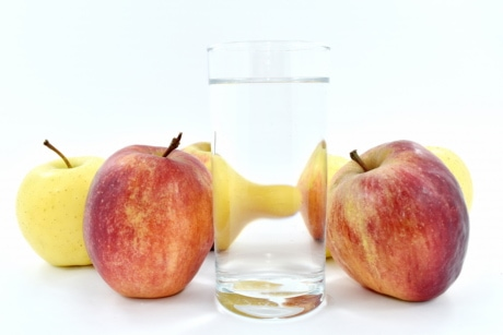 apples, drinking water, fresh water, glass, red, sweet, fruit, delicious, vitamin, healthy