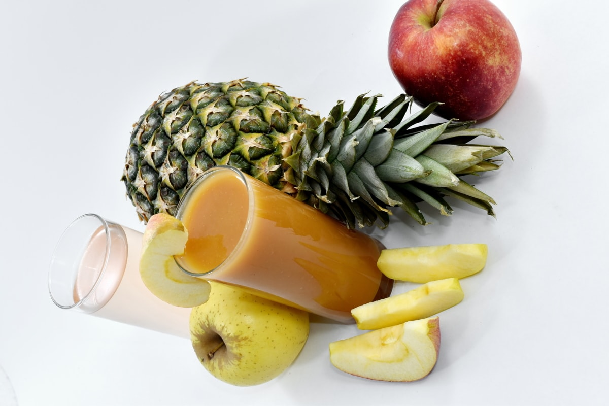 apples, fruit juice, slices, sweet, syrup, fruit, pineapple, healthy, apple, food