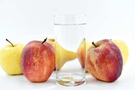 apples, drink, fresh water, glass, liquid, fresh, pear, health, vitamin, apple