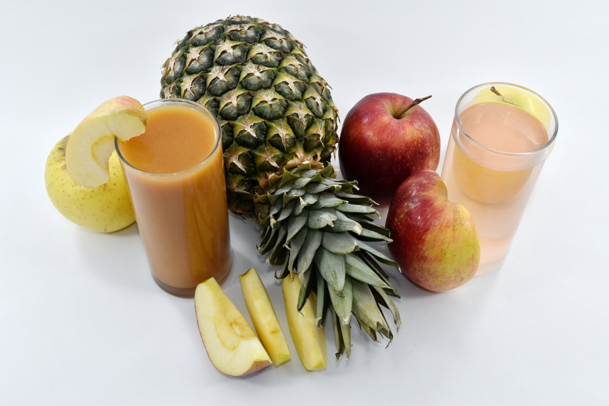 apples, fruit cocktail, fruit juice, pineapple, slices, vitamins, still life, apple, juice, fruit